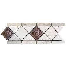 Listellos And Decorative Tile MSI NocheChiaro Copper Scudo 100 in x 100 in TravertineMetal 25