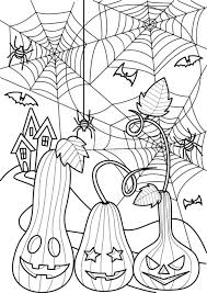 ハロウィン塗り絵ジャックオーランタンと蜘蛛の巣イラスト大人