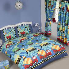 blue construction time boys bedding crib toddler twin duvet comforter cover set trucks diggers
