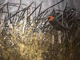 elizabeth schl paints in a variety of styles but her aluminart exhibit showcases her love of nature as in this piece titled bird in cattails