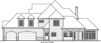 Rear View House Plans For A Large Five Bedroom HomeView House Plans