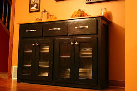furniture classic kitchen buffet design in black finish with glass doors kitchen buffet