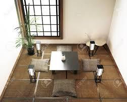 Mat Interior Design Interior Design Living Room With Table Tatami Mat Floor 3d Rendering
