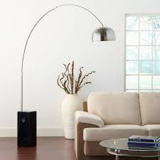 astounding design arco lamp ideas with dining room curve shape floor lamp and stainless steel lamp shade plus white color marble floor lamp base