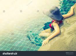 Pool Light Leak Woman Swimming Pool Vintage Filter Light Royalty Free