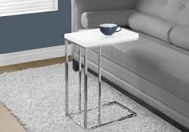 accent table glossy white with chrome