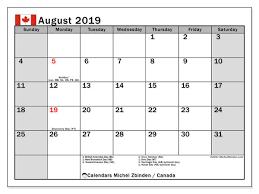 August Calandar August 2019 Calendar Canada Michel Zbinden En