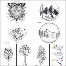 Fashion Pencil Sketch Tattoo Men Stickers Geometric Temporary Tattoo