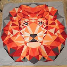 she can quilt: A Lion update - paper piecing a 60  square & That is not actually a photo without the paper as I have to press the quilt  top now. I am going to add some borders to make it bigger than a 60