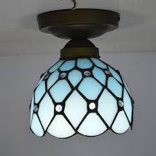 Tiffany Ceiling Light Mediterranean Sea Style Stained Glass Kitchen Lighting  E27 110 240V(China