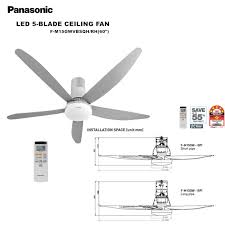 panasonic econavi led 5 blade 9 sd ceiling fan fm15gwvbsqh rh