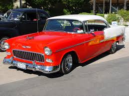 1955 Chevrolet Bel Air Hardtop - Red & White - Side Angle