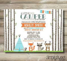 5 Piece Woodlands Party Camping Party By EnchantedFrogParty Camping Themed Baby Shower Invitations