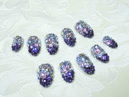 721 スワロフスキー埋め尽くし紫グラデーションのジェルネイルチップ