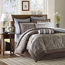 Queen bedroom comforter sets Black Madison Park Aubrey Queen Size Bed Comforter Set Bed In Bag Blue Brown Amazoncom Amazoncom Madison Park Aubrey Queen Size Bed Comforter Set Bed In