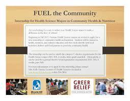 fuel the munity internship for health science majors in munity health nutrition live well furman furman university