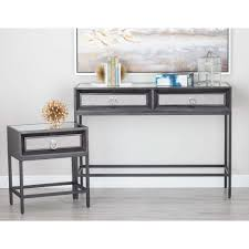 classic black wood and metal console table and end tables set (set