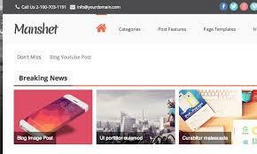 manshet premium wordpress theme homepage breaking news