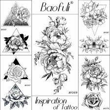 Baofuli 20 видов стилей женский черный цветы татуировки передаче