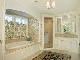 garden tub decorating ideas with ceiling lighting also fl curtains and fl wallpaper with glass shower doors also oriental rug and tile floor plus