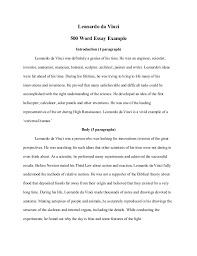 500 Word Essay Sample Leonardo Da Vinci 500 Word Essay Example