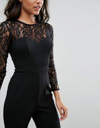 lipsy lace top long sleeve jumpsuit