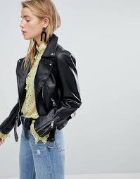 new look women s black pu biker jacket