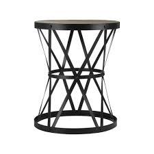industrial style dark wood and metal circular side table
