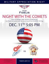 comets vs blast indoor soccer military appreciation night team comets vs blast flyer