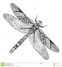 Dragonfly Zentangle стилизованный эскиз для татуировки или футболки