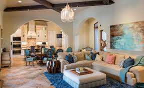 Moroccan Inspired Living Room And Dining Room Combo With Beige Sectional  And Blue Accents (Image