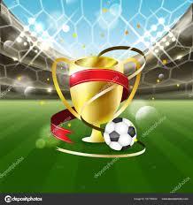 Voetbalstadion Met Een Bal En Goud Kop Met Linten Op Het Gras