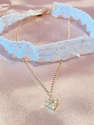 hollow lace choker with heart pendant necklace white ori