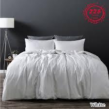 details about white linen cotton vintage wash quilt doona cover set queen king super king