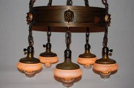 large brass grimacing monk arts crafts chandelier w hand painted shades