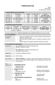 Resume Cv Sample Format Chartered Accountant Ca Mba Skool