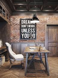 minimal office design. earthy rustic home office design incorporating lots of timber exposed brick industrial lighting and paneling love the addition cream upholstered minimal