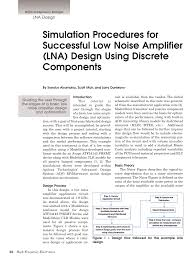Lna Design Using Ads Tutorial Simulation Procedures For Successful Low Noise Amplifier