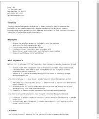 Vendor Management Analyst Resume Template Best Design Tips