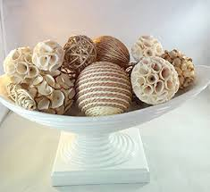 Decorative Bowl Filler Balls Decorative Spheres Creamy White Rattan Vase Filler White Bowl 1