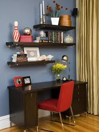modern office shelving. Awesome Home Office With Elegant Wood Floating Shelves Desk Modern Red Chair And Long Shelving