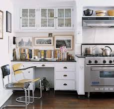 desk and cabinet in a kitchen nook