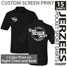 Jerzees Color Chart Details About 15 Custom Screen Printed Jerzees Pocket Sport Shirts 1 Color Print 2 Locations
