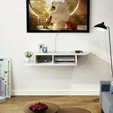 2 tier white wall mount floating shelf