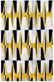 artdeco yellow black modern leather area rug jpg
