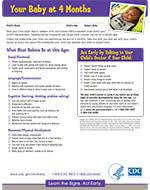 Infant Development Chart Checklist Important Milestones Your Baby By Four Months Cdc