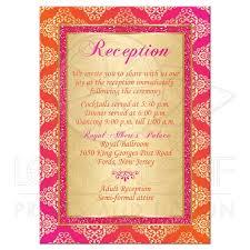 Wedding Enclosure Card Orange Fuchsia Gold Damask Scroll Faux