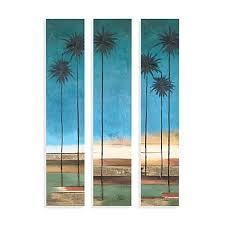 palm tree canvas wall art set of 3  on palm tree wall art set with palm tree canvas wall art set of 3 bed bath beyond