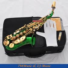 whole green gold curved soprano saxophone sax bb key high f new case saxophone strap case clip saxophone brand with 650 13 piece on haitan s