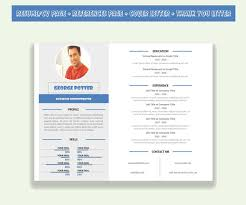 Horizontal Resume Template CV Template Pack Microsoft Word (Cover Letter +  Thank You Letter + References Page)